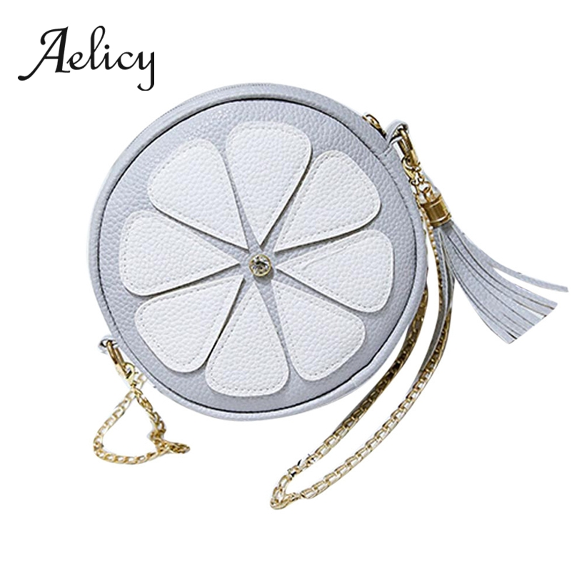 Aelicy Round metal chain single shoulder bags women circle cute casual fashion messenger clutch handbag leather Phone Coin BagAelicy Round metal chain single shoulder bags women circle cute casual fashion messenger clutch handbag leather Phone Coin Bag