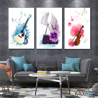 Nordic Music Bar Canvas Painting Pop Guitar Rock Poster Record Violin Wall Picture No Frame Cafe Living Room Mural Home Decor