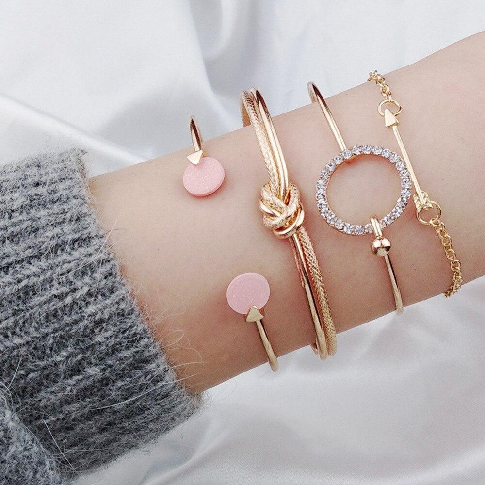 Silver Gold Charm Bracelet for Women Geometric Round Knot Bracelets Bangles Open Cuff Braclets for Women Accessories 4 Pcs/ Set