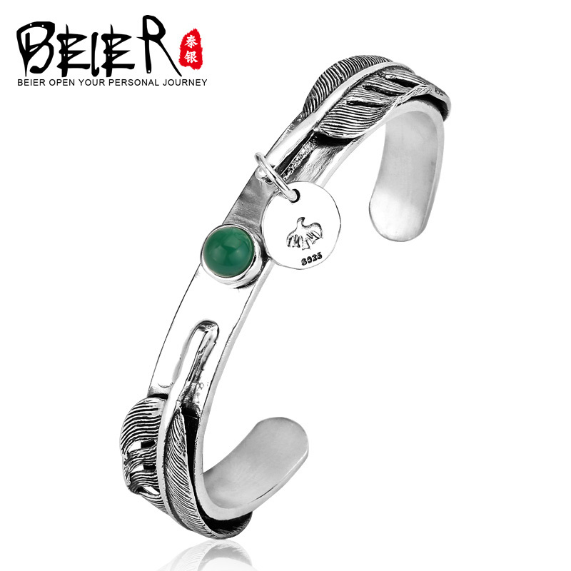 Beier 925 Sterling Silver Bracelet romantic top quality romantic feather green gem Bracelet for man and women BR925SZ065 chic rhinestone gem bracelet for women
