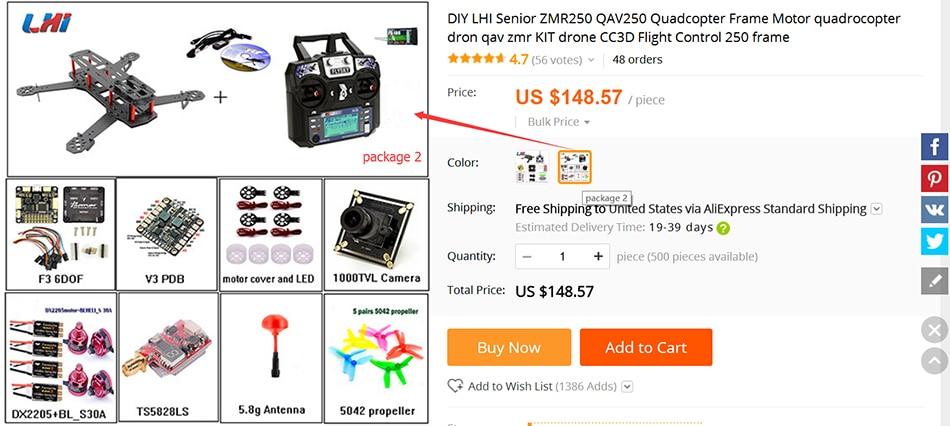 DIY LHI Senior ZMR250 QAV250 Quadcopter Frame Motor quadrocopter dron qav zmr KIT drone CC3D Flight Control 250 frame 2