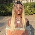 Ombre Brasileño de la virgen del pelo humano peluca del frente del cordón para las mujeres negras # 1b/613 dos tonos raíces oscuras completo pelucas delanteras del cordón nudos del blanqueo