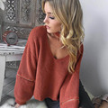 2016 Loose Sweater V Neck Open Zipper Long Lantern Sleeve Pullover Womens Fall Fashion Knitted Black Tricot Ladies Tops Jumper