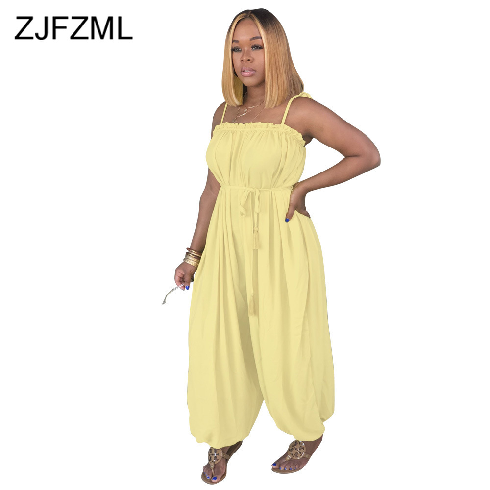 Spaghetti Strap Sexy Chiffon   Jumpsuit   Women Yellow Strapless Backless Loose One Piece Romper Summer Pink Sleeveless Boho Overall
