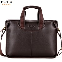 VICUNA POLO Promotion Famous Brand Handbag High Quality PU Leather Men Tote Bag Borse Classic Sewing