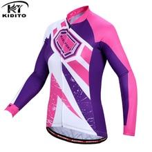 цена на KIDITOKT 2018 Winter Warm Cycling Jersey Long Sleeve Women Thermal Fleece Bicycle Clothing Road mtb Bike Jersey Ropa Ciclismo