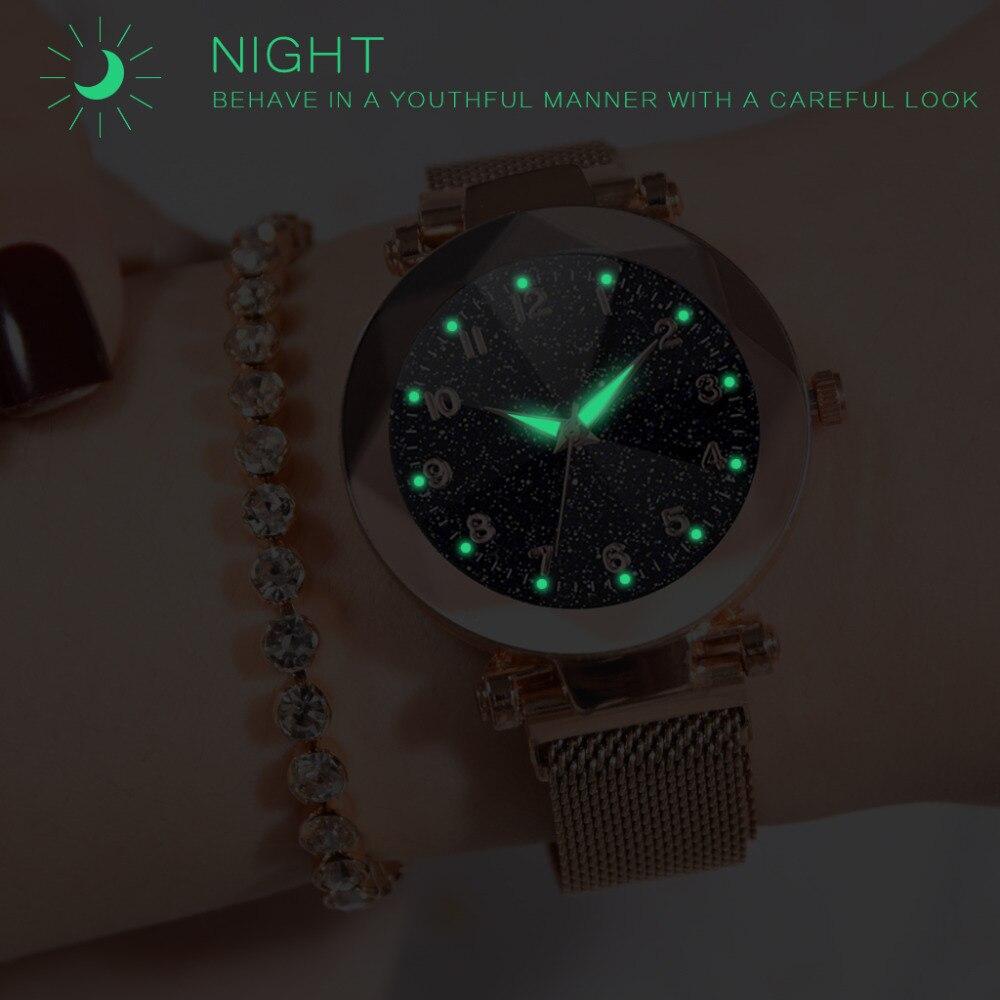 Women Watches 2019 Brand Luxury Bracelet Quartz Stainless Steel Band Magnet Buckle Starry Sky Wrist Watch Ladies Dress Clock 2