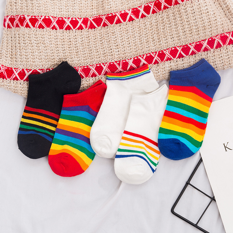 SP&CITY Vogue Rainbow Women Short Socks Colored Patterned Ankle Socks Cute Harajuku Cotton Low Socks Girls Student Cool Sox