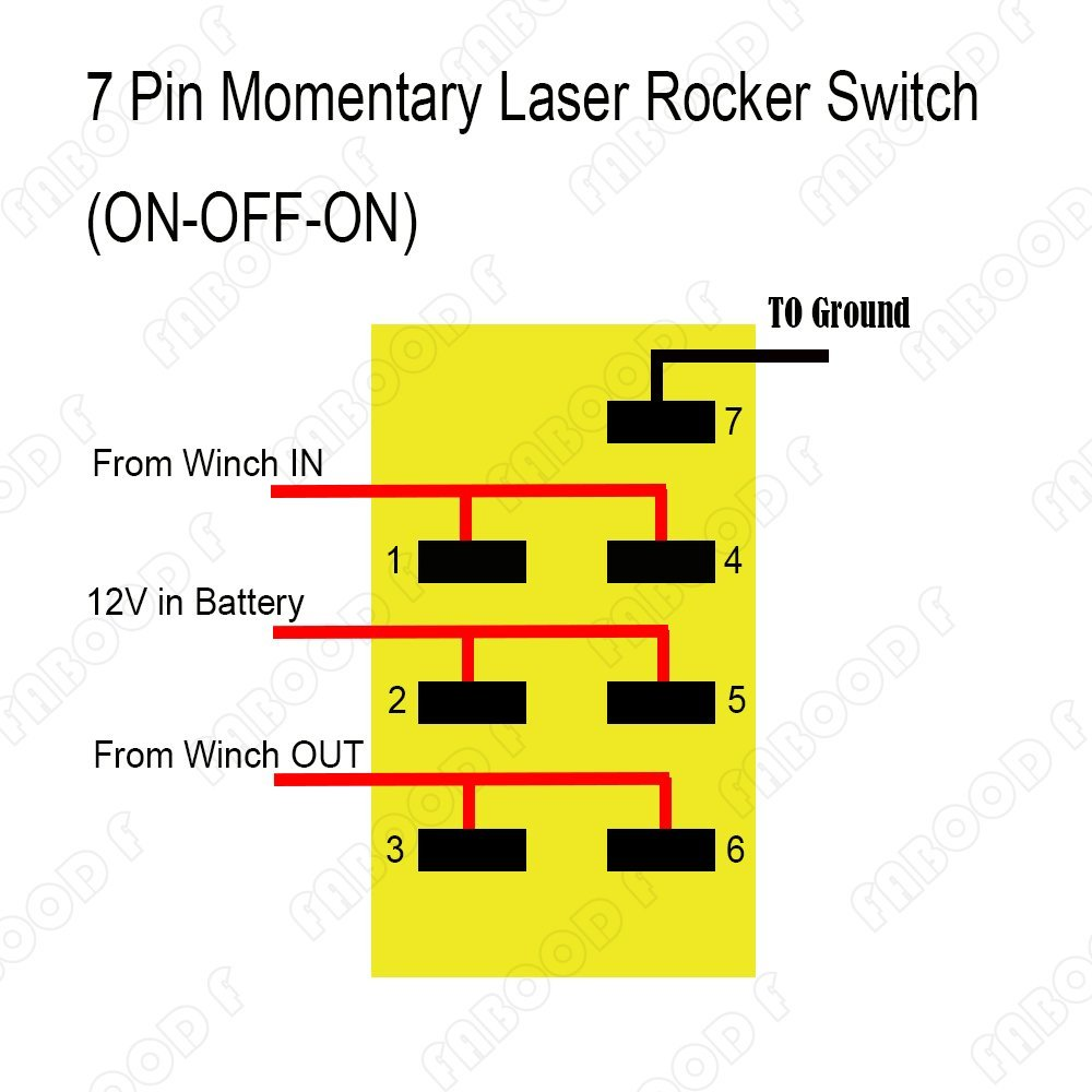 hight resolution of 7 pin winch in out momentary rocker switch laser on off led light 20a 12v for automotive motorcycle bike truck boat marine atv in cables adapters sockets