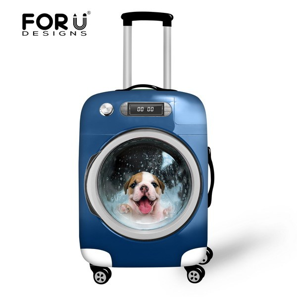 New Candy Color Women Elastic Luggage Protective Covers For 18 - 30 Inch Travel Trunk Case,3D Animal Cat&Dog Suitcase Rain Cover