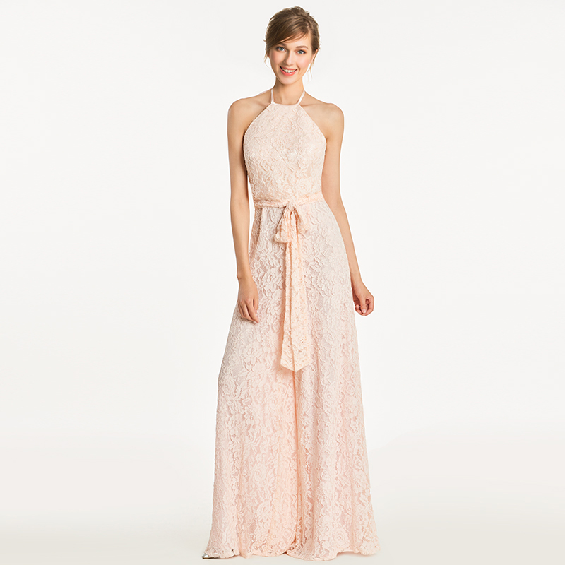 Tanpell halter bridesmaid dress lace sleeveless floor length gown women jumpsuit sheath wedding party formal bridesmaid dresses