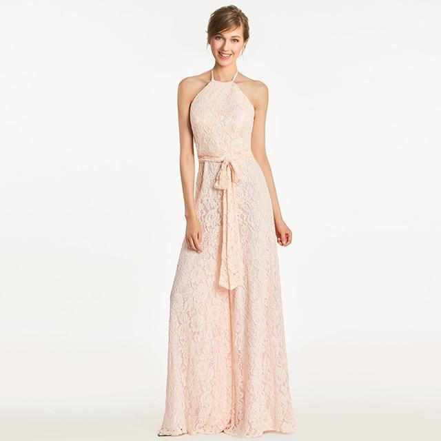 1355dbdd64ed Tanpell halter bridesmaid dress lace sleeveless floor length gown women  jumpsuit sheath wedding party formal bridesmaid dresses