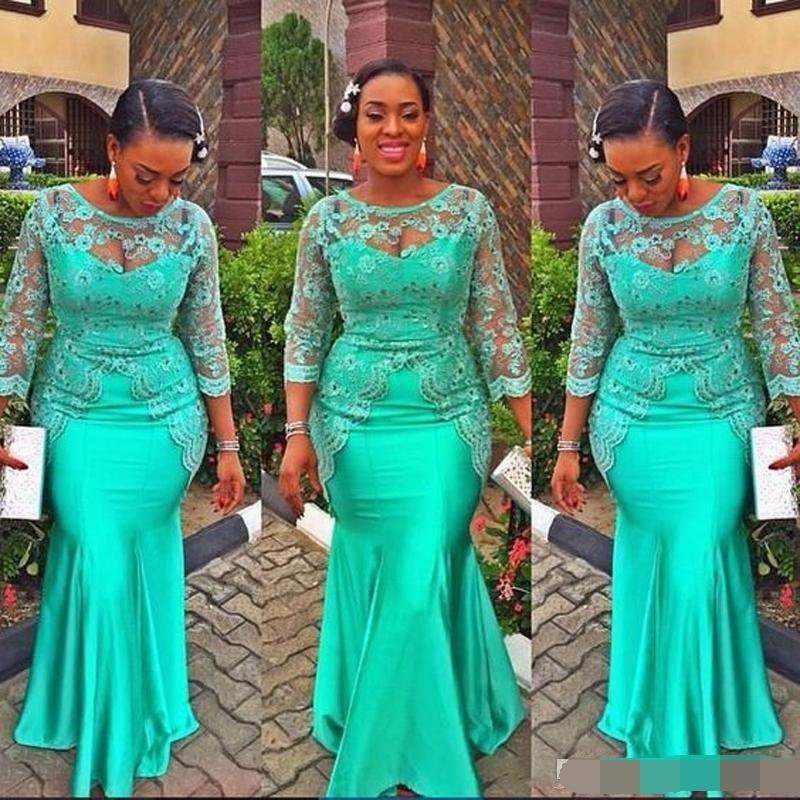 Turquoise robe de soirée sirène africaine 2019 Vintage dentelle Nigeria manches longues robes de bal robe de soirée robe de soirée