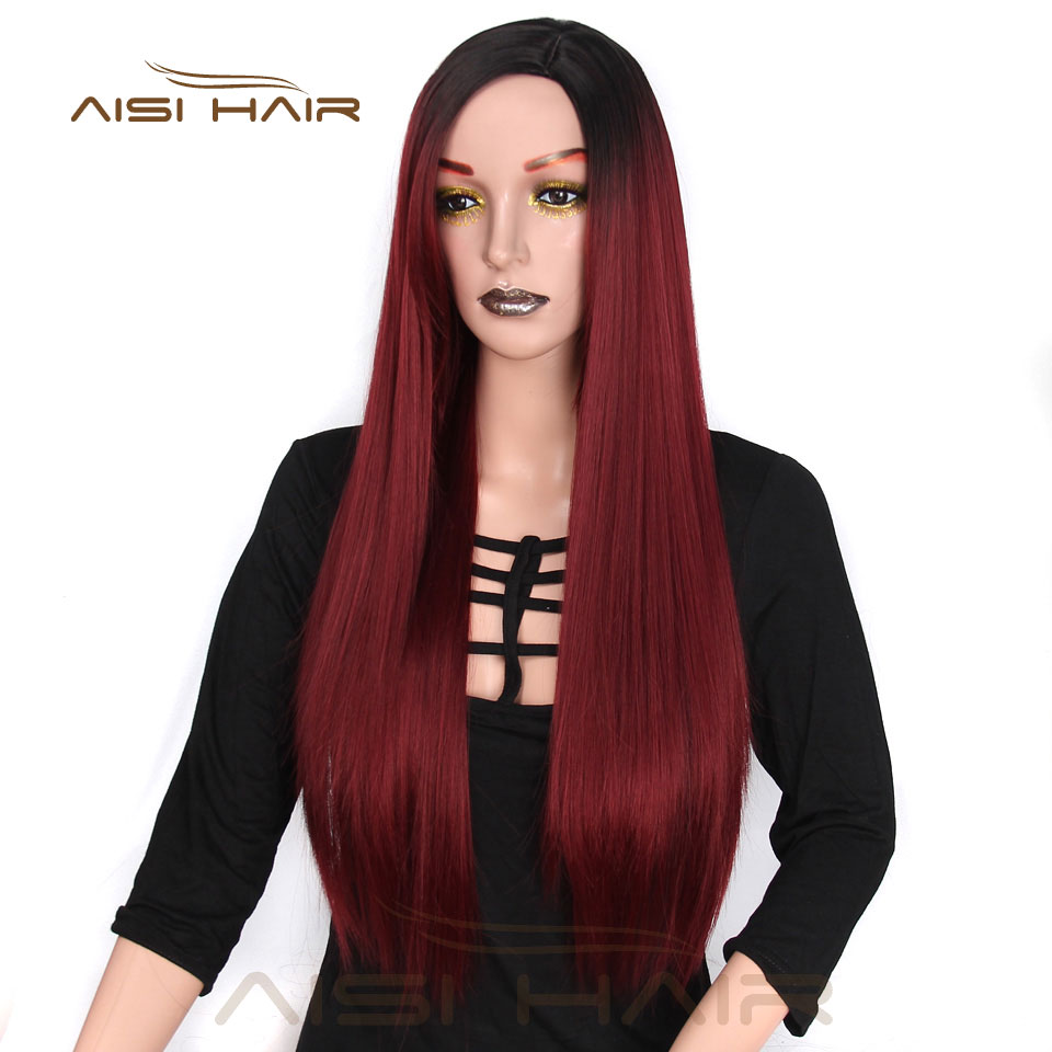I's A Wig  Long Ombre Red Straight Synthetic Wigs 24 Inches For Women Black  Two Tone Heat Resistant Fiber Hair