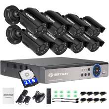 DEFEWAY 8 1200TVL 720P HD Outdoor CCTV Security Camera System 1080N Home Video Surveillance DVR Kit 2TB 8CH 1080P HDMI Output