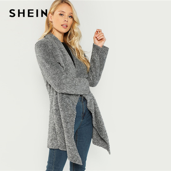 38d940a0c0 ... SHEIN Grey Office Lady Elegant Waterfall Collar Solid Knee Length Teddy  Coat 2018 Autumn Casual Fashion