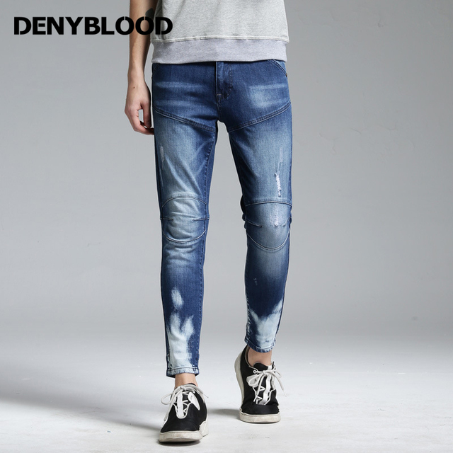 Denim Para Gastados Corte Jeans Costura Delgadas Cargo Flacas Pantalones Denyblood Ripped Jeans Stretch Mulit Hombre awTnqdtaH