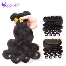 YuYongtai hair Indian Body wave Lace Frontal Closure With Bundles 13x4 Human Hair Bundles Remy hair 5PCS Ear To Ear(China)