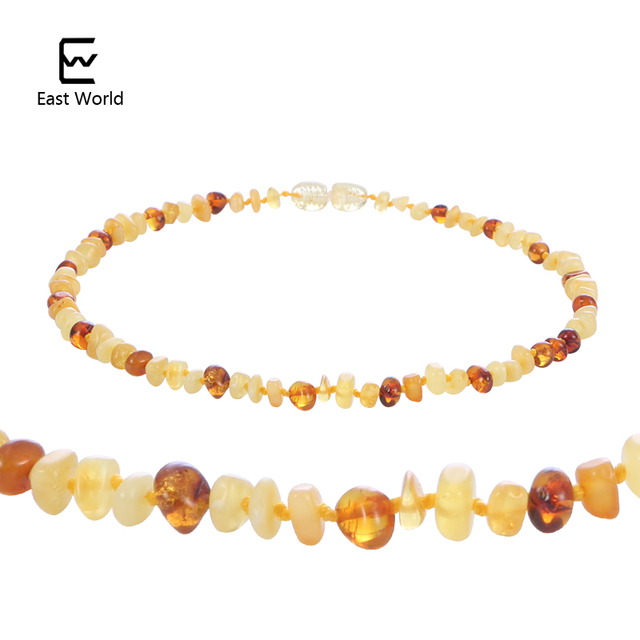 EAST WORLD Cognac Natural Amber Necklace for Baby Adult Baroque Baltic Amber Beads Jewelry Natural Stone Collar Supplier-7 Color