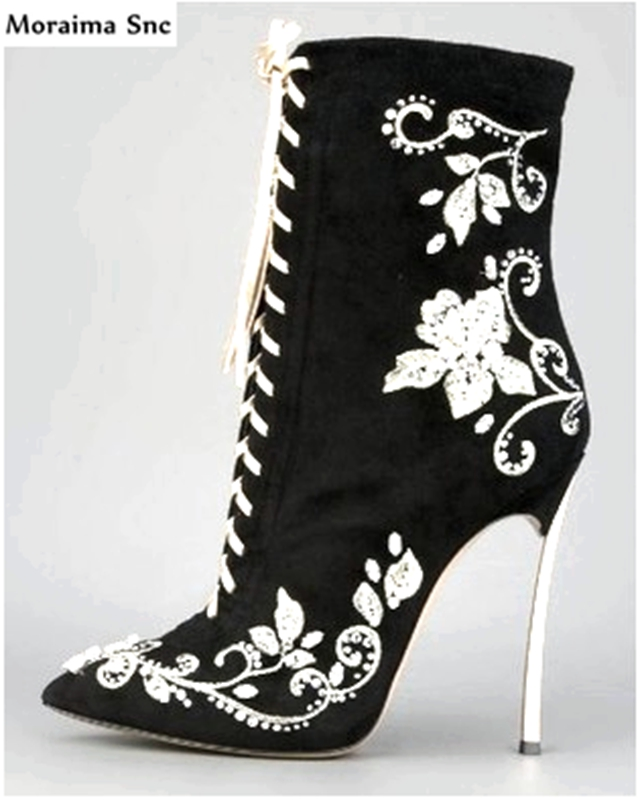 Moraima Snc fashion women pointed toe crystal embroider sexy catwalk thin high heel vintage suede handmade party shoes black moraima snc chic women winter platform pointed toe mid calf boots solid black lace up fringe vintage suede high heel