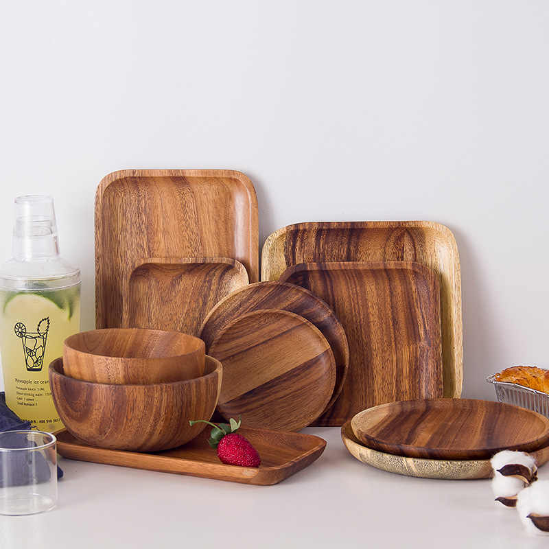 Thicken Wooden Bowl Pan Plate Fruit Dishes Saucer Tea Tray Dessert Dinner Bread Wood Plates