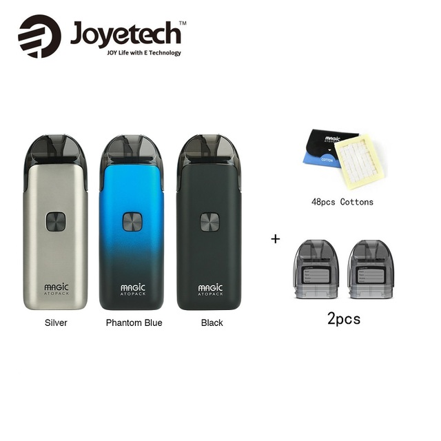Joyetech Atopack Magic Starter Kit 1300mAh Built-in Battery & 2pcs Pod Cartridge 7ml & 100% Organic Cotton 48pcs Vape vs ego AIO