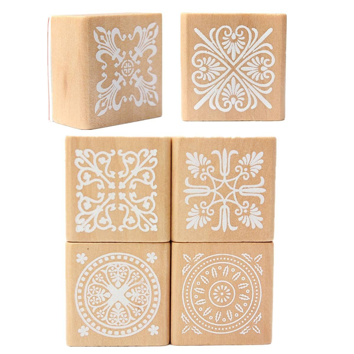6 Assorted Wooden Stamp Rubber Seal Square Handwriting DIY Craft Flower Lace