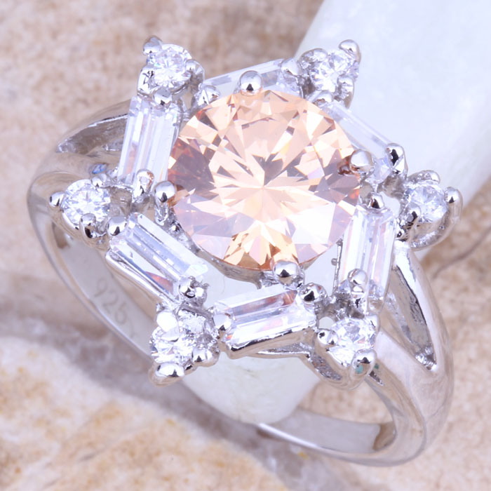 Wonderful Brown Morganite White CZ Silver Stamped 925 Womens Jewelry Ring Size 6 / 7 / 8 / 9 R1188