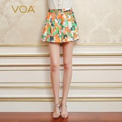 VOA Zijde Jacquard Vrouwen Plisse Shorts Rok Bohemian Mid Taille Casual Losse Strand Oranje Print Shorts Zomer Vakantie KSA00501