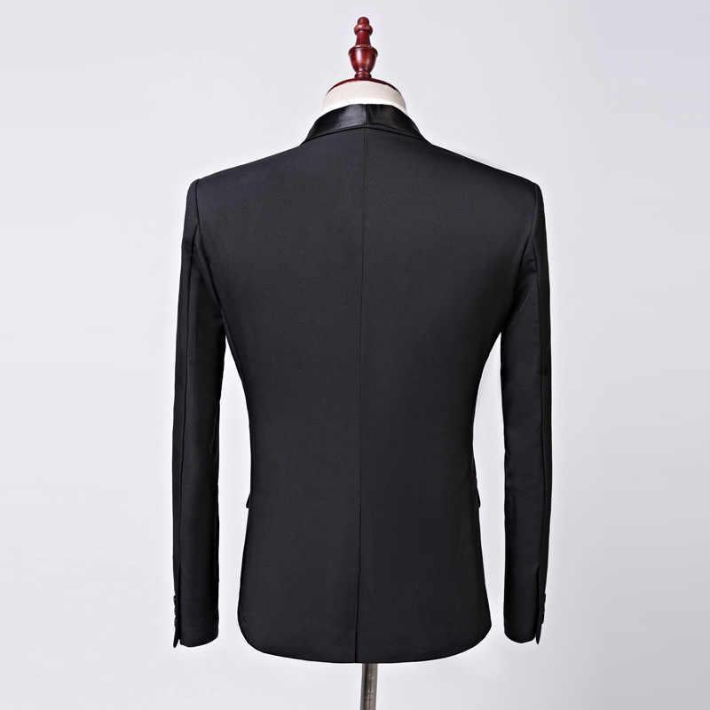 2019 ブランドカジュアルメンズ黒のスーツのジャケット宴会パーティー結婚式介添人ビジネスブレザー Masculino ステージ衣装歌手