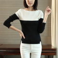 Simple Basis Pullover Jumper Feminino Boat Neck Long Sleeve Slim Sweater Street Style Sueter Mujer