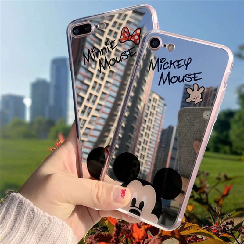 Cartoon Minnie Mouse Silicone Cases for iPhone 6 6s plus Case TPU Mickey Mouse Mirror Cover for iPhone X 7 8 5 5s SE Phone Cases new cute leopard fur mouse mink tail soft ptotective jelly case silicone cover for iphone 5s 5 rose
