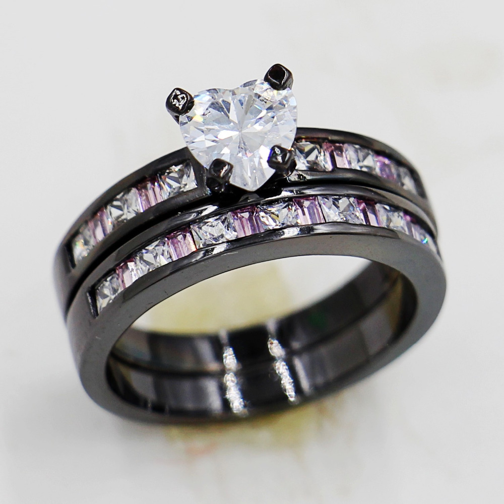 New Jewelry Women Engagement 10kt Black Gold Filled Pink Gem 5a Zircon  Birthstone 2in