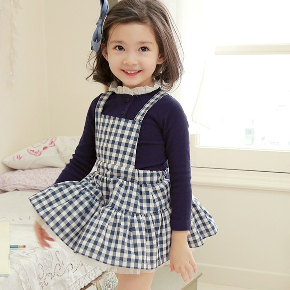 baby girls princess big bow plaid dresses cotton casual