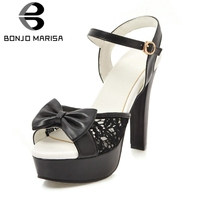 BONJOMARISA 2019 Big Size 34 43 New Bowtie Square High Heels Solid Platform Shoes Woman Party Office Summer Sandals Black