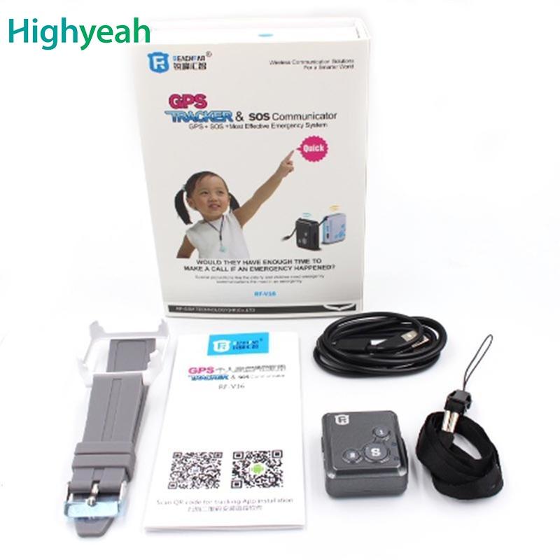 RF V16 Mini GSM GPRS GPS Tracker SOS Communicator for Kids Child Elderly Personal GPS Lifetime Web APP Tracking Two way Talking