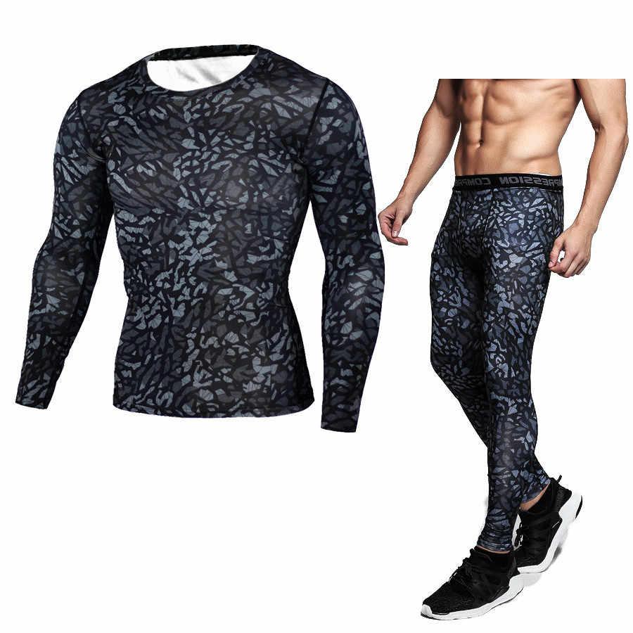 ММА Для мужчин Сжатия Работает комплекты спортивных костюмов одежда спортивный комплект длинная футболка и брюки тренажерный зал Фитнес тренировки колготки Костюмы