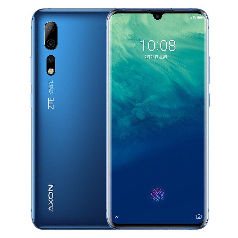 Original ZTE Axon 10 Pro Mobile Phone Snapdragon 855 48MP 3x Zoom Curvy Edge Screen Fingerprint Wireless Charge 5G Optional