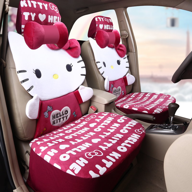 girl 39 s woman 39 s cute hello kitty brand fashion small velvet pink universal car seat cover set in. Black Bedroom Furniture Sets. Home Design Ideas