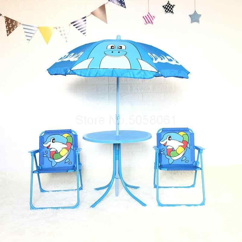 Gấp gọn cho trẻ em bàn ghế 4 món hoạt hình ngoài trời mưa bàn dù giải trí di động bãi biển bảng phân