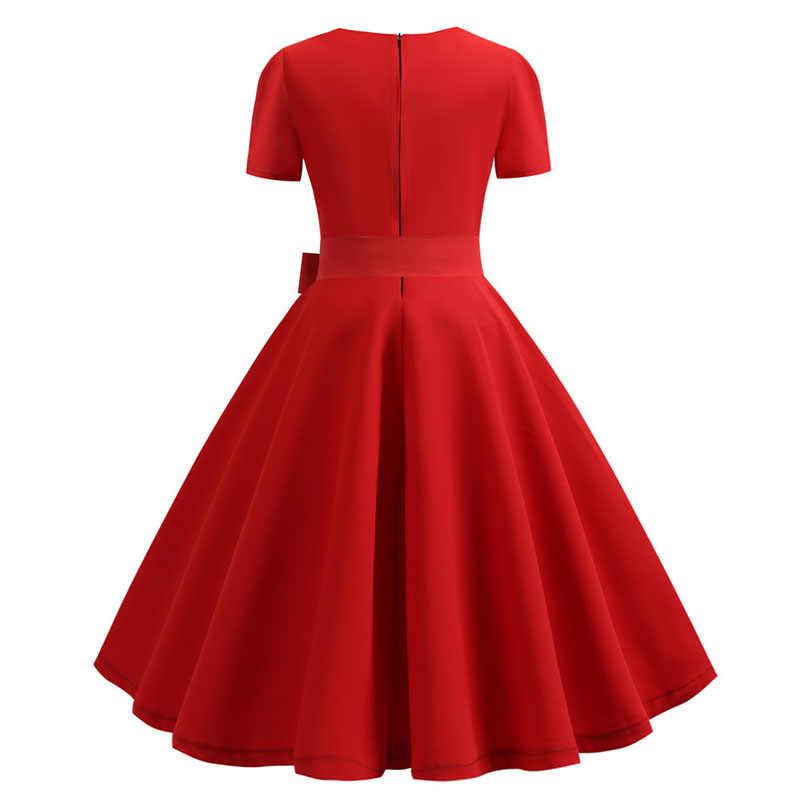 여성 여름 드레스 우아한 레트로 빈티지 50s 60s 로브 로커 빌리 스윙 핀 업 드레스 캐주얼 플러스 사이즈 레드 파티 Vestidos