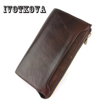 IVOTKOVA New Brand Men Clutch Wallet Genuine Leather Men Long Wallets Cow Leather Male Purse Bag with Card Holder Drop Shipping