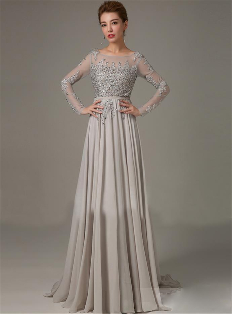 Online Shop Custom Made Long Sleeve Evening Dress Long Vestidos ...