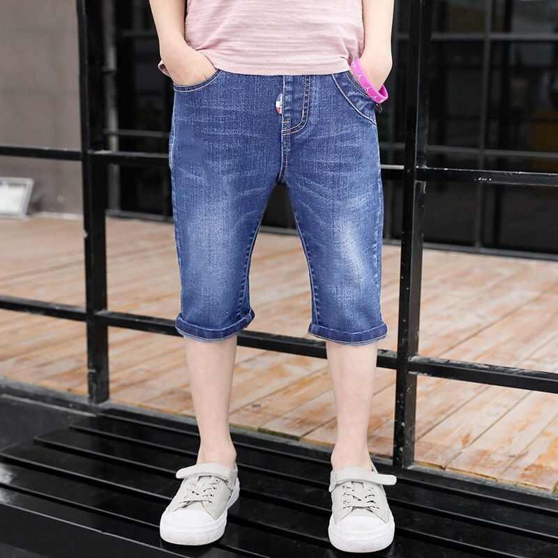 2019 nowych dzieci chłopcy spodenki jeansowe lato odzież niemowlęca chłopców mody na co dzień 4Y-16Y list wydrukowano miękka bawełna proste dżinsy