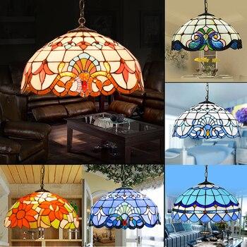 Tiffany lâmpadas de vidro de teto azul estilo mediterrâneo e27 110-240 v corrente pingente luzes luminarias