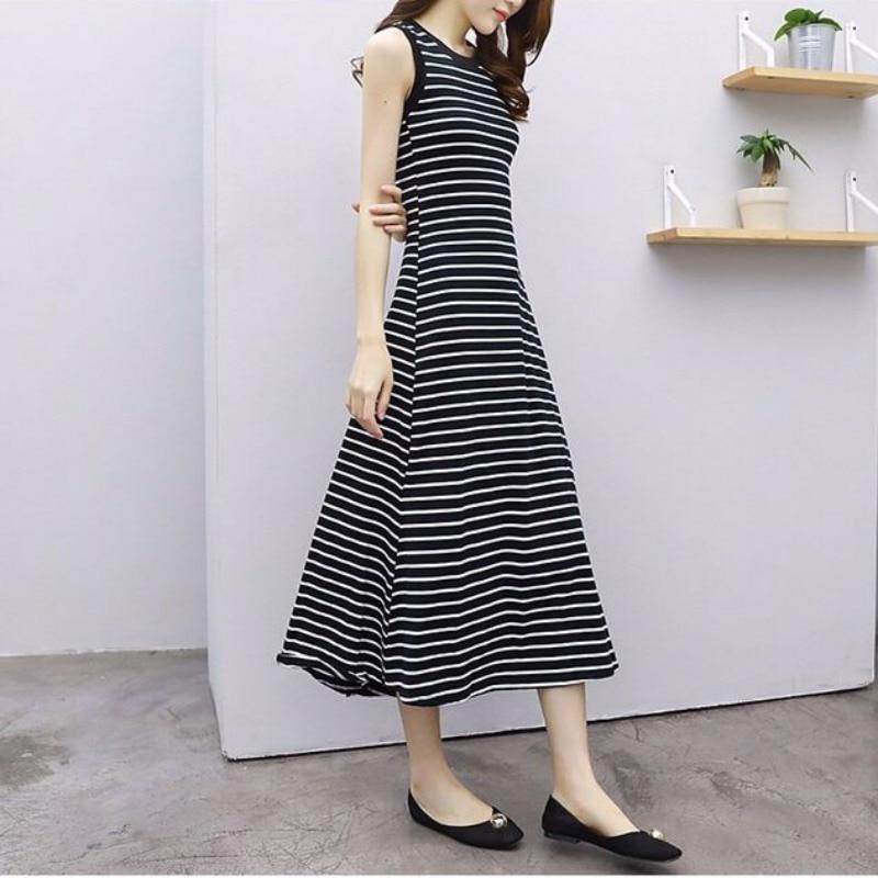3XL Plus Size Summer Slim Dess Female Casual Long Dress Vintage Striped O Neck Sleeveless New Casual Sleeveless Dresses Vestidos