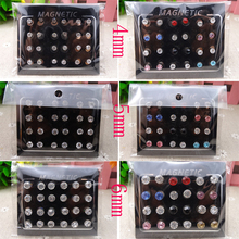 12 Pairs set 4 5 6mm Circle Crystal Rhinestone Magnet Stud Earring Magnetic 36ee8d8ffd6c