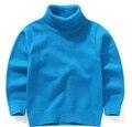 2016 otoño ropa de los niños causales sólido espesar algodón niño niña de cuello alto de punto suéteres suéteres para niños niñas niños