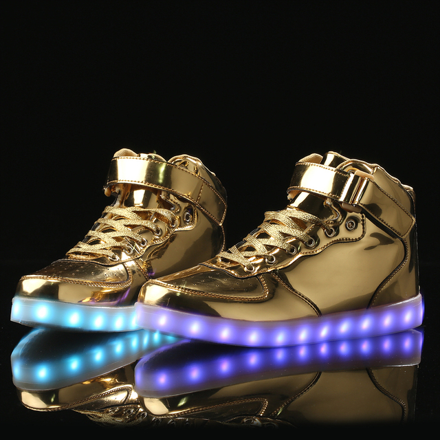 a234c79c3697e DHL 2017 Free shipping Man Flat Shoes Flash High Top Light Up New Style  Fashion Flash LED night boots for adults usb charging