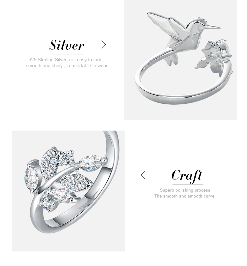 Cdyle Wedding Rings 925 Sterling Silver Jewellery Embellished with Crystals from Swarovski Hummingbird Women Rings Adjustable